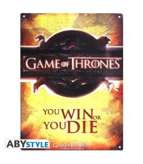 Placa metálica You Win or You Die - Juego de Tronos