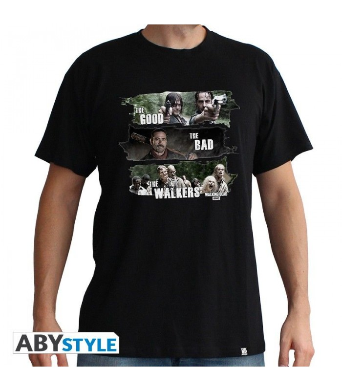 Camiseta negra good, bad &walkers - The Walking Dead