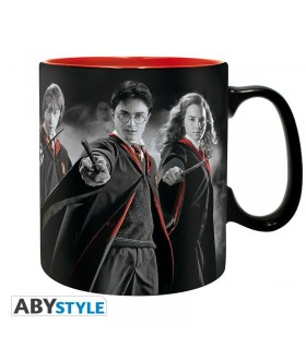 Taza de cerámica negra Harry, Ron y Hermione - Harry Potter