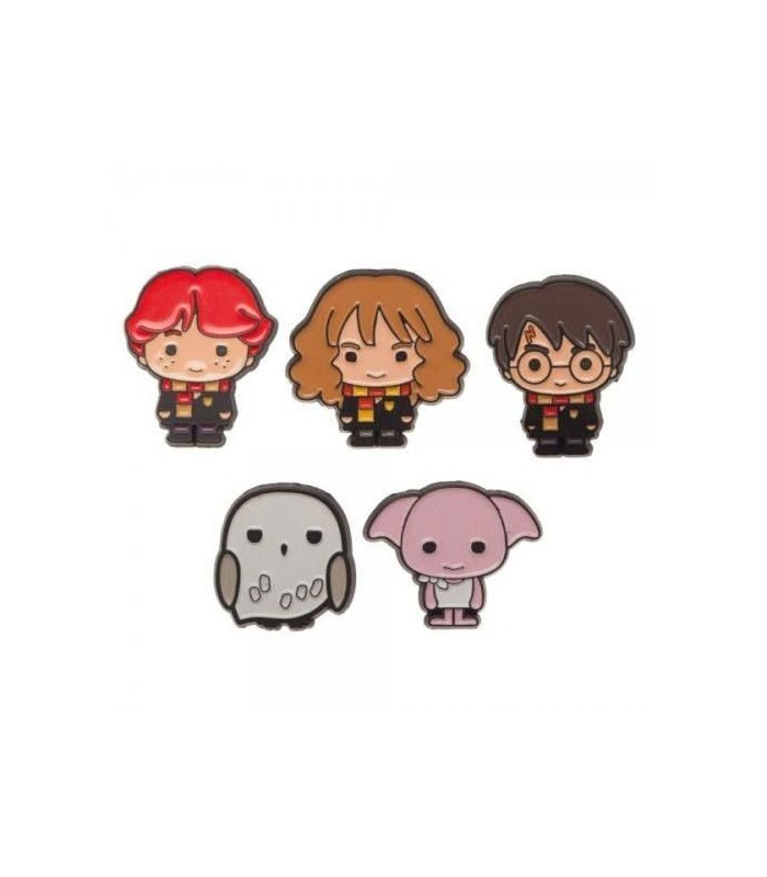 Pack 5 Chapas Harry, Hedwig, Dobby, Ron y Hermione - Harry Potter