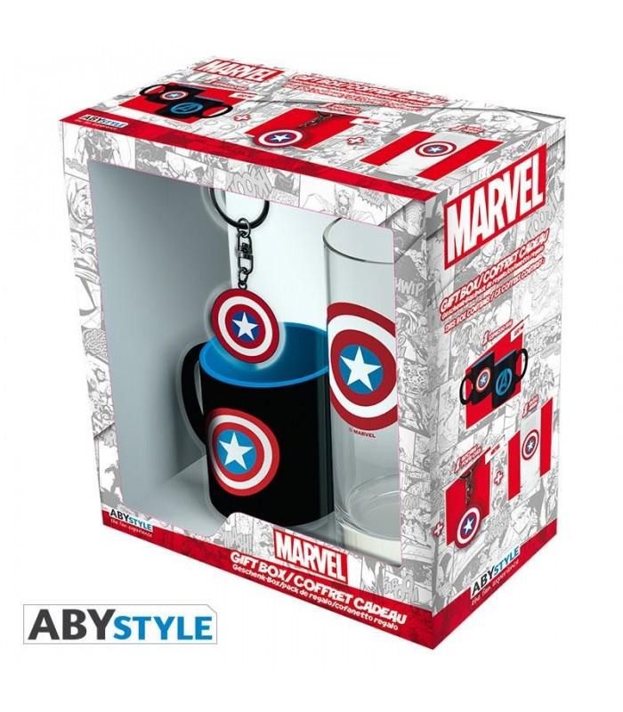 Pack taza, vaso y llavero Capitán América - Marvel