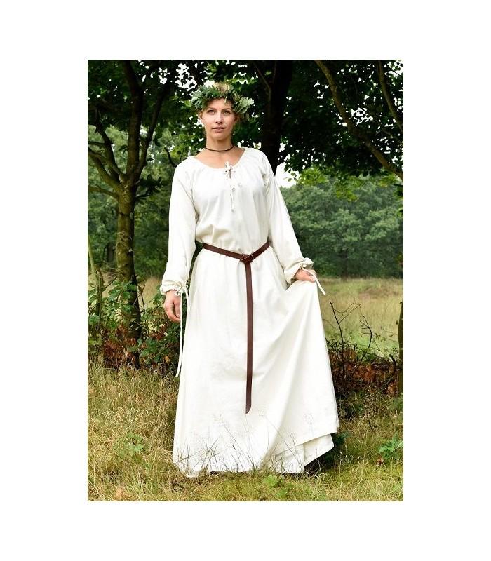 Vestido Medieval Sencillo Blanco De Algodón