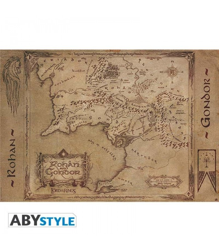 Póster mapa de La Tierra Media, regiones de Góndor y Rohan - El Señor de Los Anillos