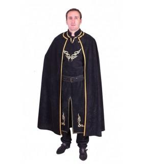 Capa medieval negra con bordado en dorado.