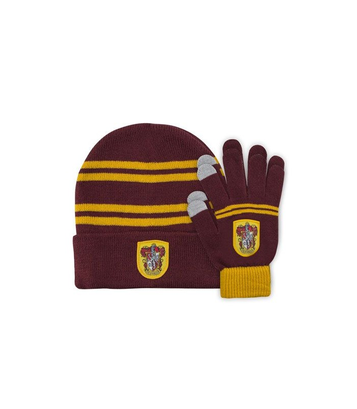 "Set de Gorro ""beanie"" y guantes táctiles Gryffindor púrpura para niño - Harry Potter"