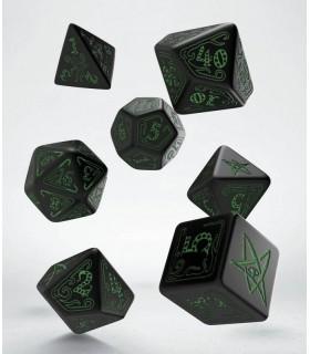 Set de dados para rol en verde y negro - Call of Cthulhu