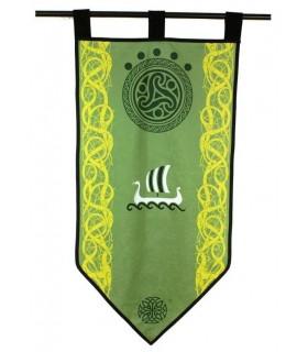 Estandarte Vikingo Verde Triskel con Drakkar