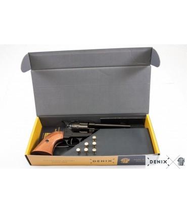 "Réplica revólver Colt Single Action Army en negro cañón 4.75""con caja decorada y 6 balas - Denix"