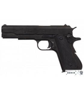 """Réplica Pistola semi-automatica Colt M1A1 """"1911"""" con cachas negras."""