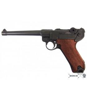 Réplica Pistola Luger P08 cañón largo y cachas en madera