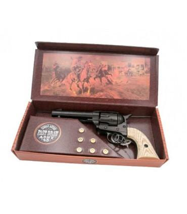 Réplica revolver Peacemaker negro con culata aspecto marfil