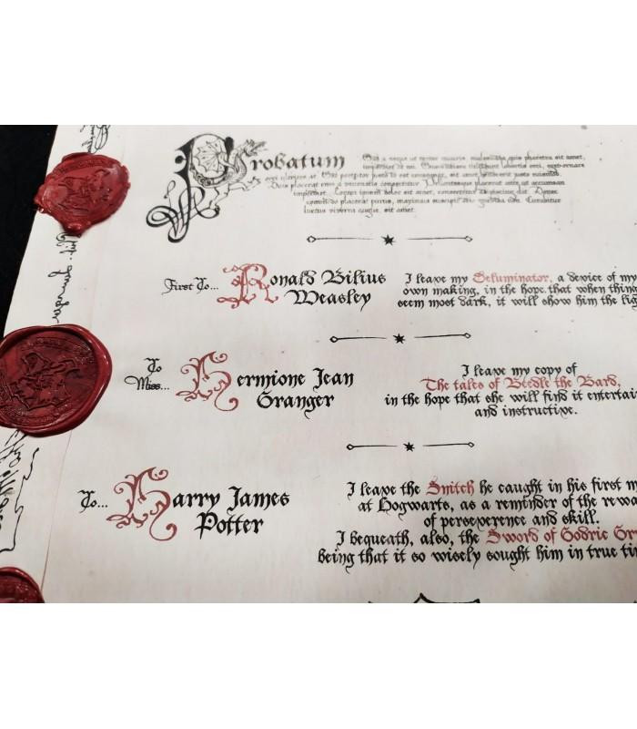 Réplica Enmarcada del Testamento de Dumbledore - Harry Potter