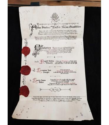 Réplica del testamento de Dumbledore con sellos de lacre