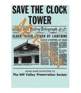 Panfleto SAVE THE CLOCK TOWER Regreso al Futuro