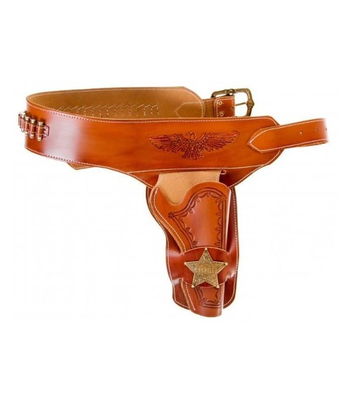 Canana de cuero marrón con estrella de Sheriff