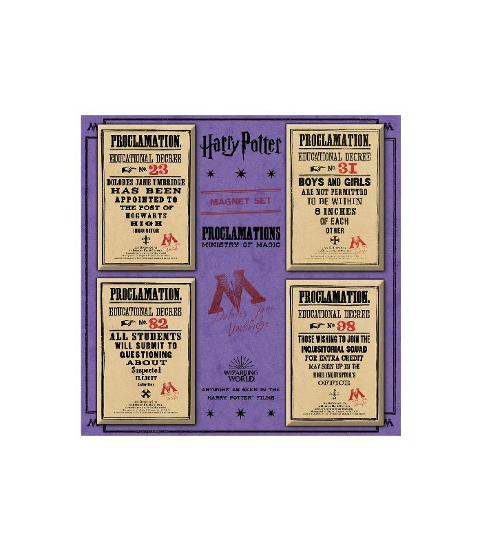 Set de imanes de normas del Ministerio de Magia - Harry Potter