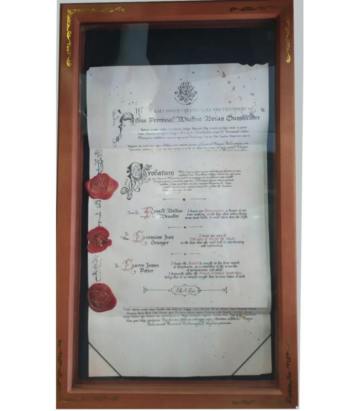 La réplica del testamento de Dumbledore enmarcada, un articulo ideal para coleccionistas de Harry Potter!
