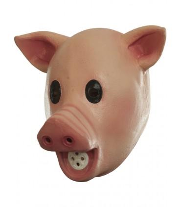 Máscara completa de cerdo con sonido para adulto