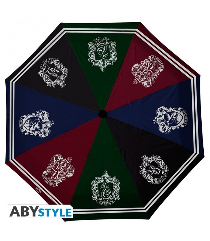 Paraguas con todos los escudos de las casas de Hogwarts en Cuernavilla.com al mejor precio