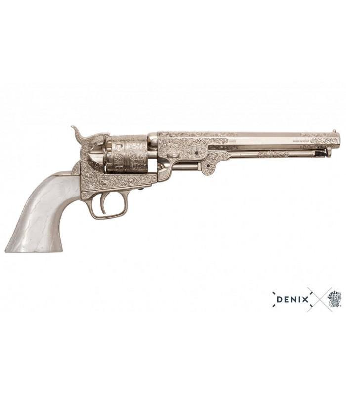 Réplica del revolver Navy de la guerra de secesión grabado con mango nacarado