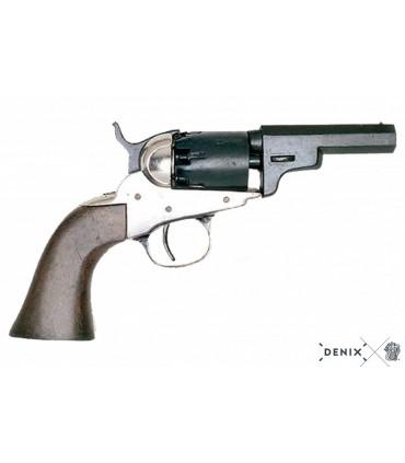 Réplica no funcional del revólver Wells Fargo 1849 en plata y negro