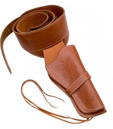 Pistolera con canana en cuero marrón claro