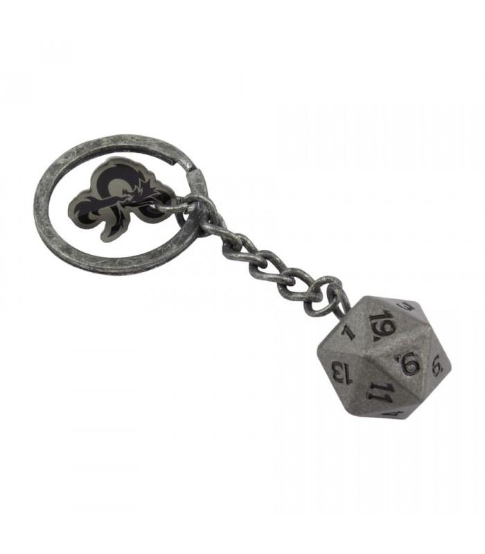 Llavero metálico dado de 20 caras - Dungeons and Dragons