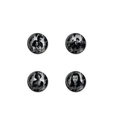 "Pack 4 Chapas ""Alice y Jacob"" Crepúsculo - Twilight Pin Set"