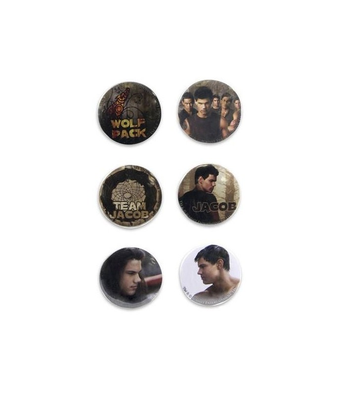 Chapas Jacob Wolf Pack Set de 6 Luna Nueva Crepusculo New Moon