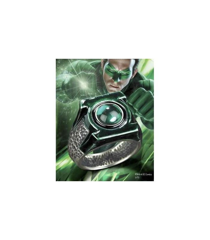 Anillo Plata Emblema Linterna Verde