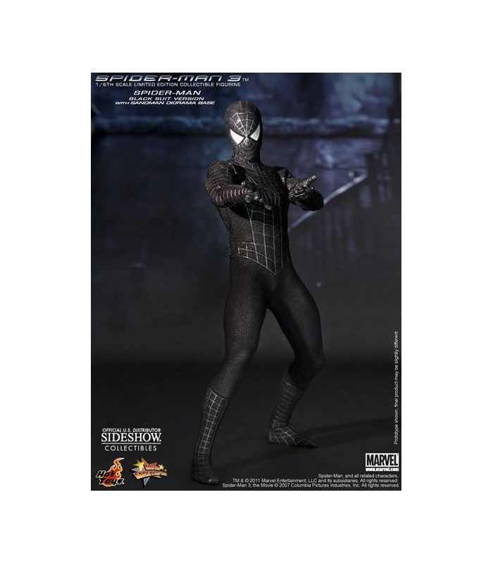 Figura Spiderman 3 Black Suit Masterpiece Escala 1:6