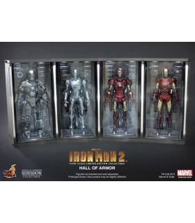 Set 4 Dioramas Expositores Hall of Armor Escala 1:6 Iron Man 2