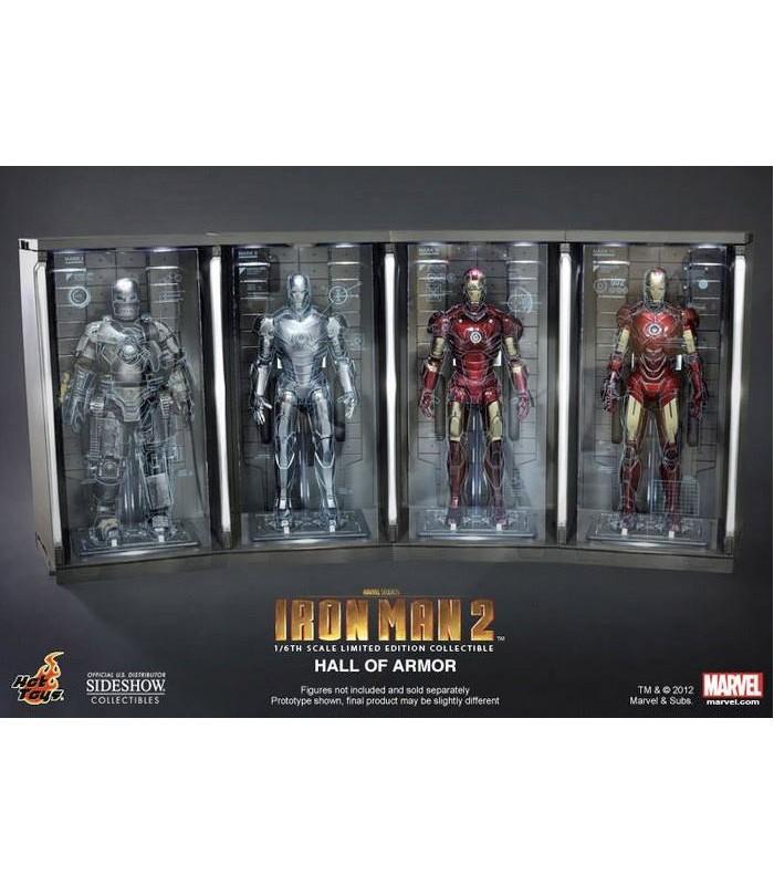 Set 4 Dioramas Expositores Hall of Armor Escala 1:6 Iron Man 2