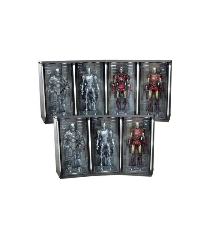 Set 7 Dioramas Expositores Hall of Armor Escala 1:6 Iron Man 2