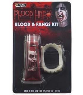 Dentadura con Colmillos y Sangre Liquida Maquillaje FX