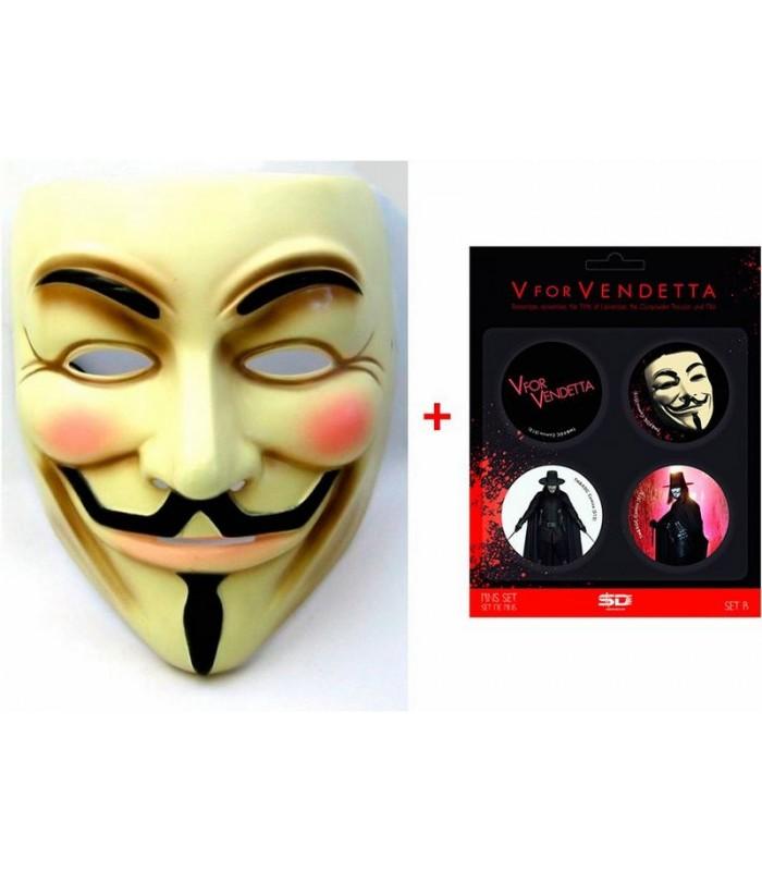 Pack V de Vendetta Máscara + Chapas