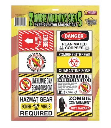 Set de imanes de aviso zombie