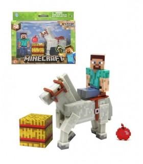 Figura Minecraft Steve & White Horse 8 cm