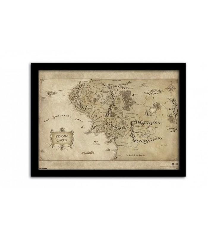 Mapa de la Tierra Media Poster Enmarcado con Paspartú El Hobbit