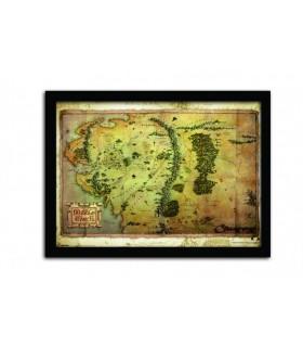 Mapa de la Tierra Media Poster Enmarcado - El Hobbit