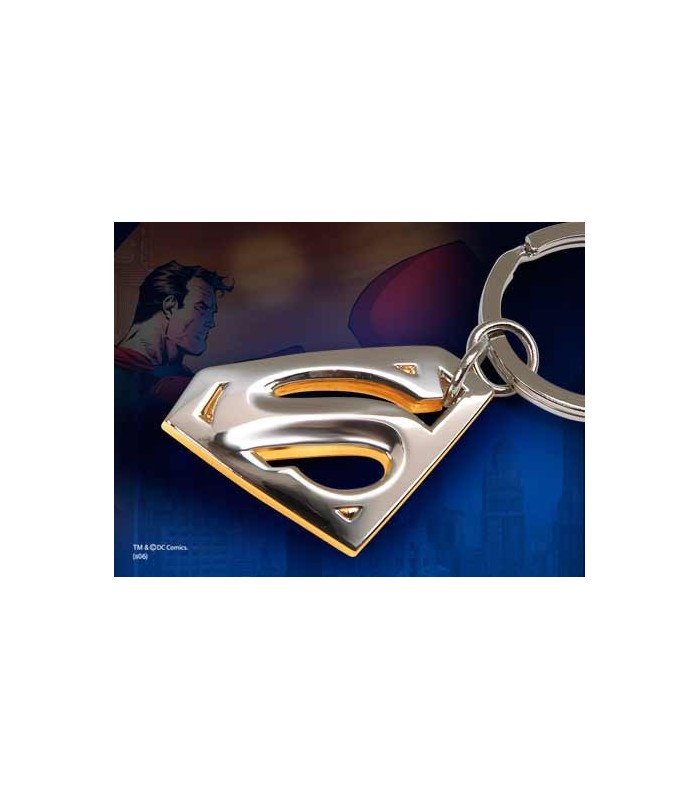 Llavero Metálico dorado y plateado - Superman Returns