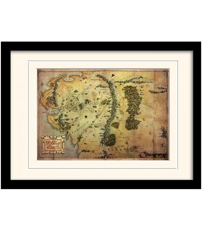Mapa de viaje de la Tierra Media Enmarcado con paspartú - El Hobbit