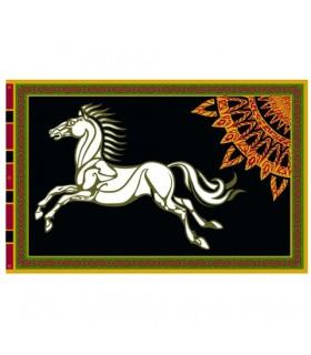 Bandera Estandarte de Rohan con fondo negro - El Señor de Los Anillos