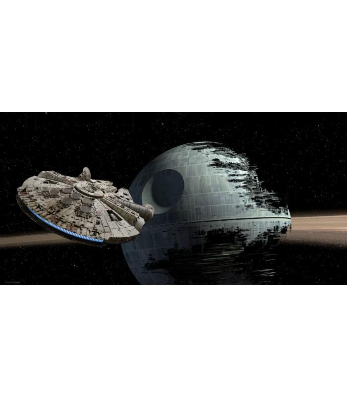 Póster de vidrio Halcón Milenario vs Estrella de La Muerte - Star Wars